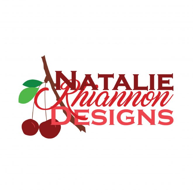 Cherries and typography logo for graphic design business